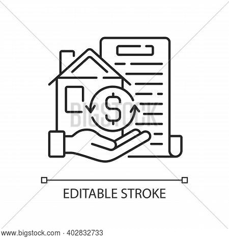 Collateral Linear Icon. Security For Loan Repayment. Real Estate, Assets Form. Valuable Property. Th