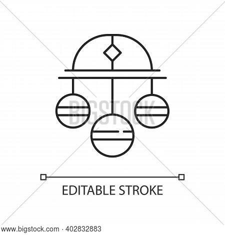 Pawn Symbol Linear Icon. Three Spheres Suspended From Bar. Monetary Success Symbol. Thin Line Custom