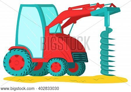 Icon Excavator With Drill, Professional Construction Vehicle Equipment, Land Work Flat Vector Illust