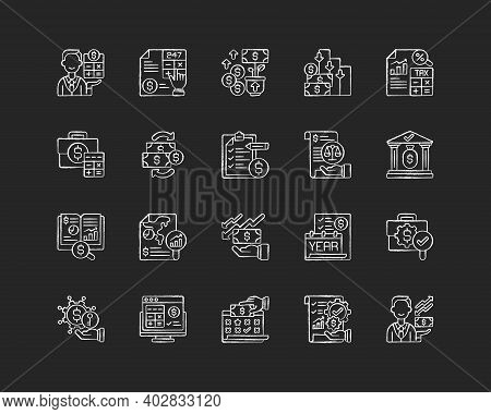 Accounting Chalk White Icons Set On Black Background. Business Controlling Methods. Accounting Softw