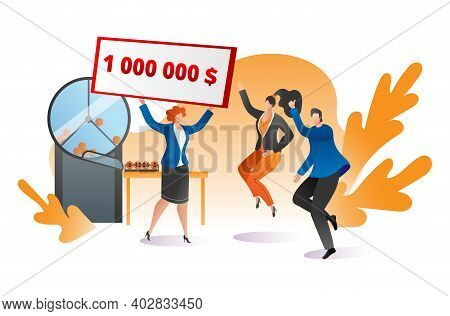 Group People Together Celebrate Winning Big Jackpot Lottery, Female Male Jump Hand Up Flat Vector Il