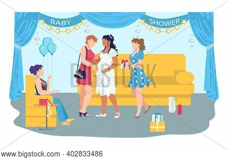 Baby Shower Celebration Party In Cozy Room, Woman Pregnant Character Rejoice Gestation Flat Vector I