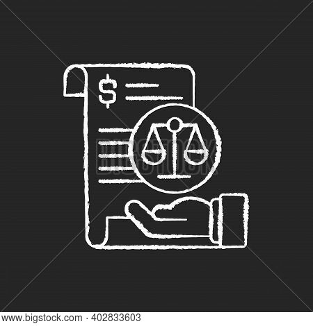 Balance Sheet Chalk White Icon On Black Background. Financial Statement That Reports About Company M