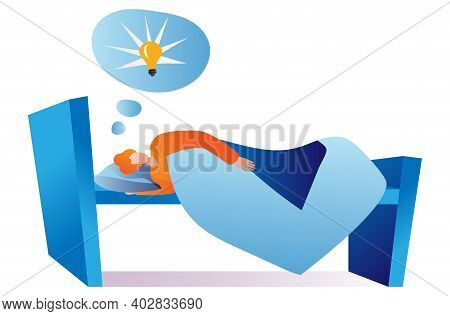 Male Laying Comfortably Bed And Sleep, Brainstorming Creative New Business Idea Cartoon Vector Illus