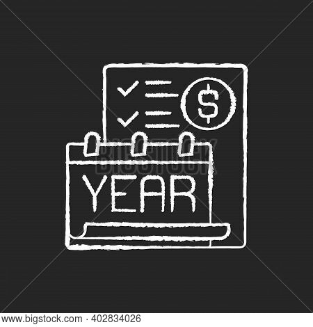 Year End Closing Procedure Chalk White Icon On Black Background. Reviewing All Accounts To Ensure Th