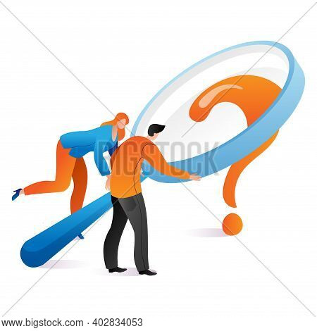 Woman And Man Hold Magnifying Glass, Solution Business Issue, Question Mark Cartoon Vector Illustrat