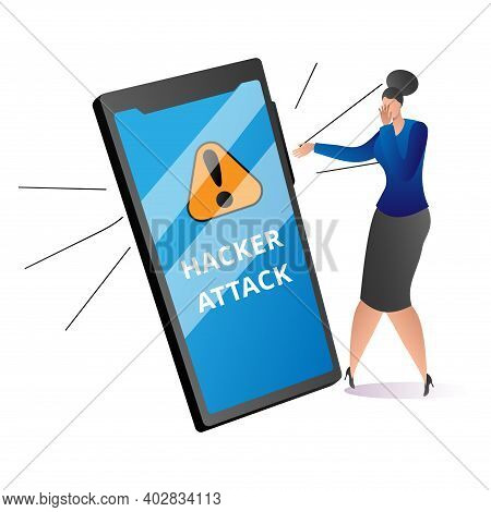 Modern Technology Cyber Security Protection, Criminal Attack To Mobile Phone, Woman Frighten Flat Ve