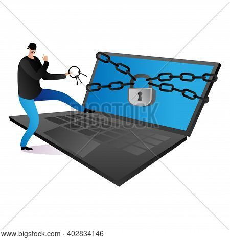 Criminal Hacker Steal Personal Data, Hacking Attack To Laptop, Cyber Security Modern Technology Flat