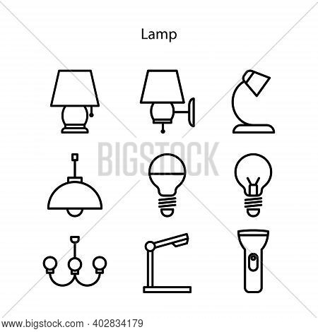 Set Of Lamp Icon Isolated On White Background From Electronic Collection. Lamp Icon Trendy And Moder