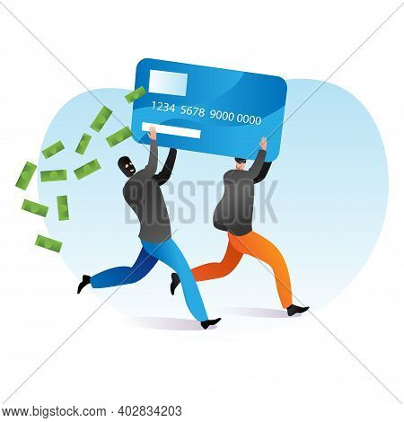 Cyber Criminal Offence Steal Money, Person Male Hacker Together Hold Banking Debit Card Flat Vector