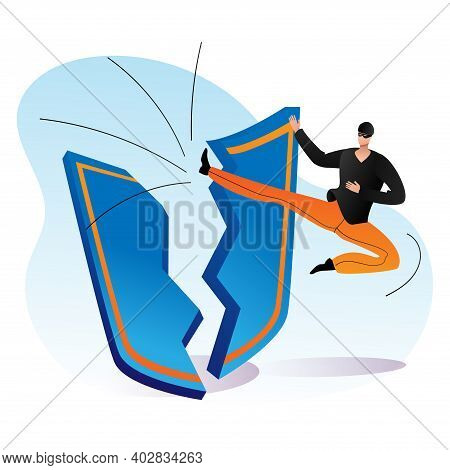 Cyber Offence, Criminal Hacking Modern Protection, Male Character Martial Art Kick Leg Flat Vector I