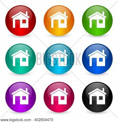 House, Home Icon Set, Colorful Glossy 3d Rendering Ball Buttons In 9 Color Options For Webdesign And
