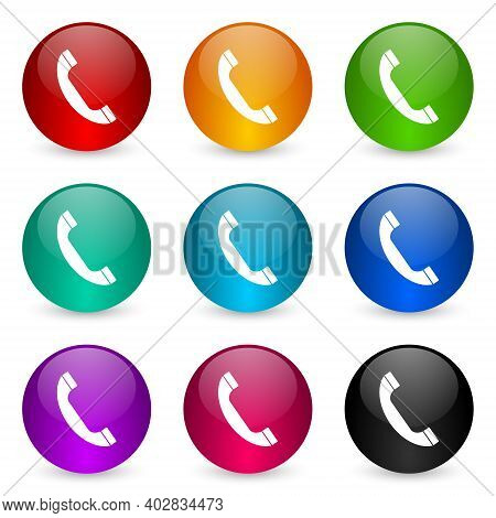 Phone, Call, Contact Icon Set, Colorful Glossy 3d Rendering Ball Buttons In 9 Color Options For Webd