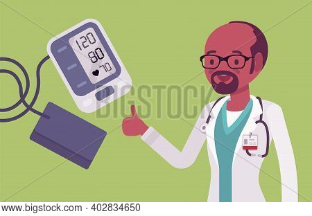 Wrist Blood Pressure Monitor Tonometer With Normal Measurement Result. Digital Display Showing Good
