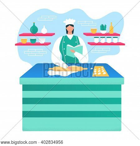 Woman Chef Prepare Delicious Food, Female Character Hold Recipe Book Cook Bakery Product Flat Vector