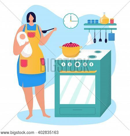 Young Woman Mother Character Hold Newborn Child, Parent Mom Cooking Food On Kitchen Flat Vector Illu