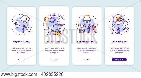 Children Abuse Onboarding Mobile App Page Screen With Concepts. Kid Harassment. Child Neglect Walkth
