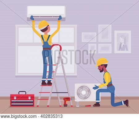 Air Conditioner Installation By Service Technicians At Home. Professional Crew Working In A Room To