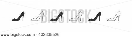 Shoes Icons. Silhouette Of Elegant Women's Shoe. High Heels Icon Isolated On White Background. Vecto
