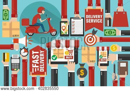 Fast Delivery Package By Scooter. Online Delivery Service. Internet E-commerce. Shopping Online On L