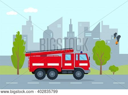 Fire Engine Going On Fire In City. Emergency Service Vehicle Concept. Red Fire Truck Rushes To Rescu