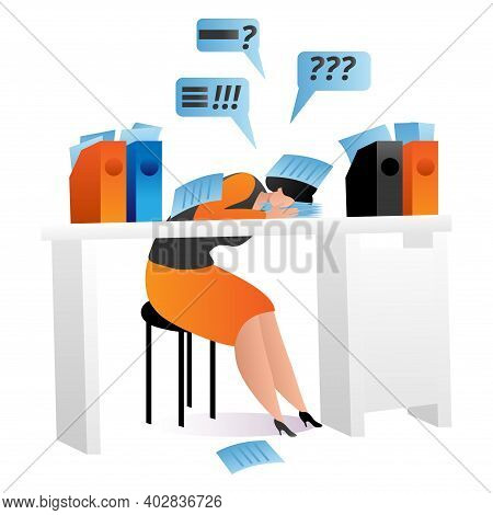 Office Worker Woman Character Stressful On Workplace, Sleeping Businesswoman Cartoon Vector Illustra