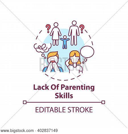 Lack Of Parenting Skills Concept Icon. Problem With Raising Children. Kid Abuse. Parental Neglect. C
