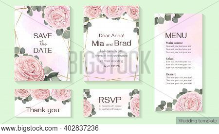 Vector Floral Template For Wedding Invitation. Pink Roses, Eucalyptus, Green Plants And Leaves, Asia