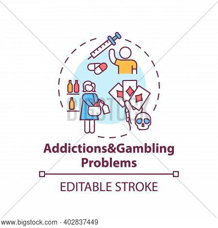 Addictions And Gambling Problems Concept Icon. Addict Behavior. Cause Of Parental Neglect. Child Saf