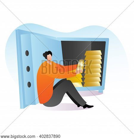 Rich Male Character Sitting Safe Deposit With Gold Bar, Wealthy Person Precious Metal Cartoon Vector