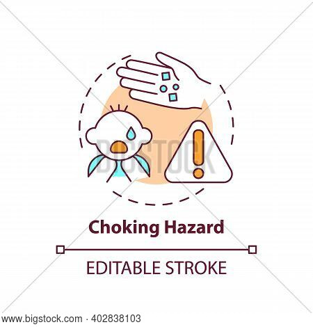 Choking Hazard Concept Icon. Baby Suffocation Risk From Food. Kids Health Protection. Child Safety I