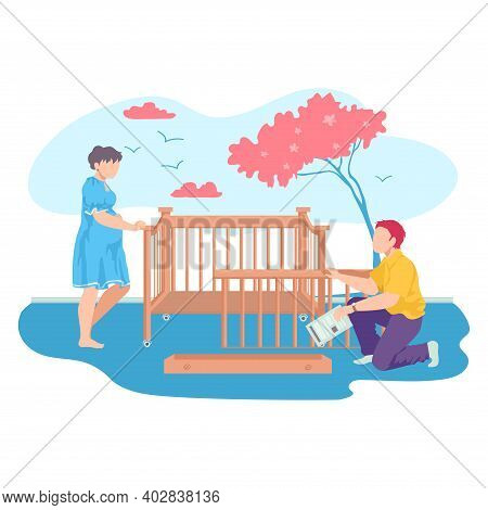 Lovely Young Family Together Collect Baby Cot, Pregnant Woman Help To Husband Cartoon Vector Illustr