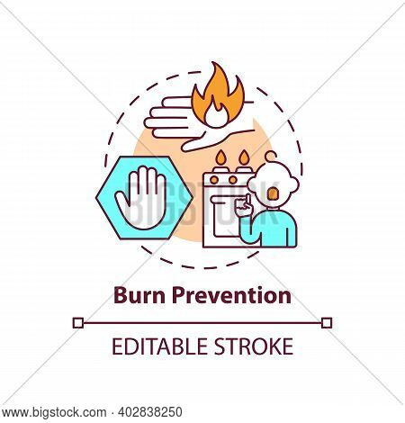 Burn Prevention Concept Icon. Kid Protection From Harm. Fire Hazard Precaution. Child Safety Idea Th