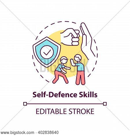Self-defense Skills Concept Icon. Practice Fighting. Martial Art Classes. Protection From Assault. C