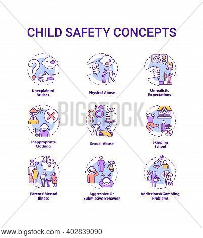 Child Safety Concept Icons Set. Parental Neglect. Domestic Abuse. Children Welfare. Kids Protection