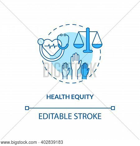 Health Equity Concept Icon. Health Programs Principles. Getting Proper Medical Service From Proffesi