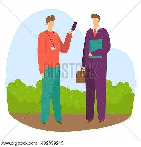 Professional Male Character Reporter Hold Microphone Interview Businessman With Diplomat Flat Vector