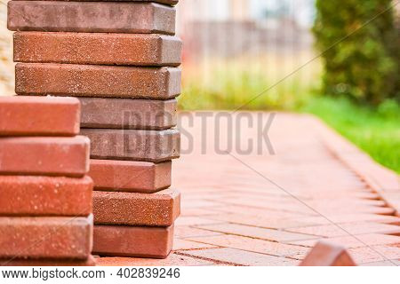 Brown Clinker Paving Stones For Laying Paths In The Garden. German Brick