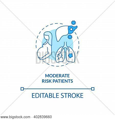 Moderate Risk Patients Concept Icon. Covid Vaccination Priority List. Dealing Dangerous Diseases. Me