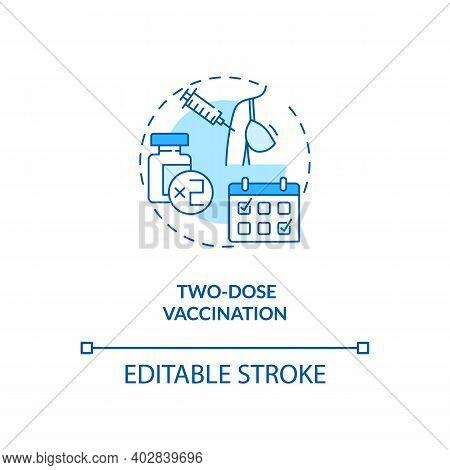 Two Dose Vaccination Concept Icon. Covid Vaccination. Best Result For Treatment Patients. Medical Id