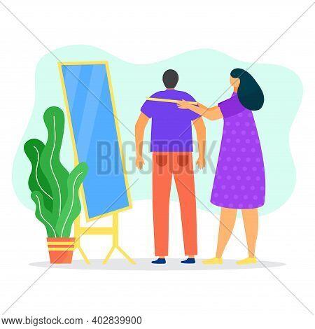 Woman Clothier Character Measurement Fashion T Shirt, Man Standing Floor Mirror, Female Professional