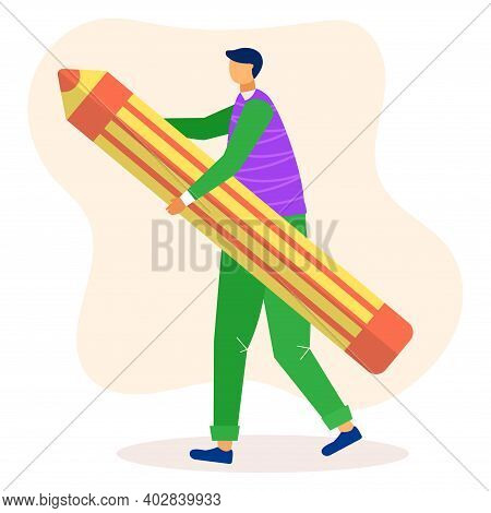 Male Tiny Character Holding And Carry Large Pencil, Concept Tailor Professional Worker Flat Vector I