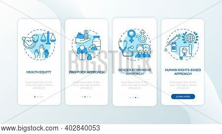 Health Programs Principles Onboarding Mobile App Page Screen With Concepts. Pro Poor Approach Walkth