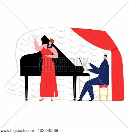 Professional Woman Songstress Sing Vocal Music Song Hit, Man Sitting Playing Piano Flat Vector Illus