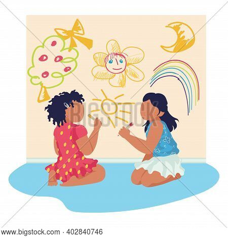 Little Kid Sitting Floor Drawing Aquarelle Picture On Wall, Character Children Female Friend Cartoon