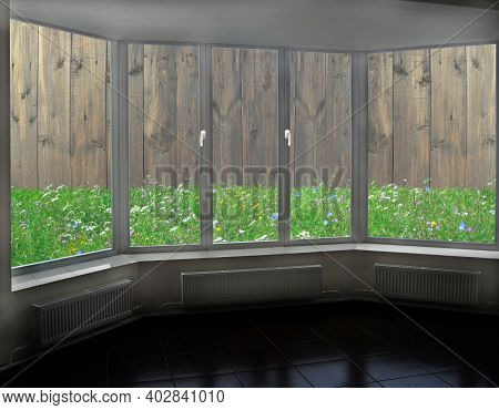 Open Window Overlooking The Fence. Window Overlooking Summer Courtyard With Wooden Fence. View From