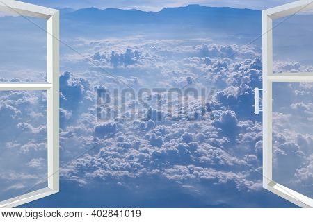 Window Of Room Overlooking Blue Sky With White Clouds. Opened Window With Sky Panorama. Heavenly Lan