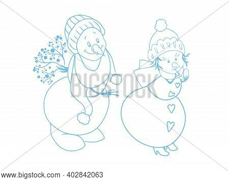 Couple Of Snowmen. A Snowman In A Hat And A Scarf Hiding A Bouquet Of Flowers Behind His Back Is Smi