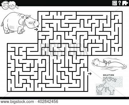 Black And White Cartoon Illustration Of Educational Maze Puzzle Game For Children With Funny Hippos