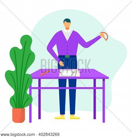 Young Male Architect Workplace Engineering Table With Professional Ruler, Character Builder Creator